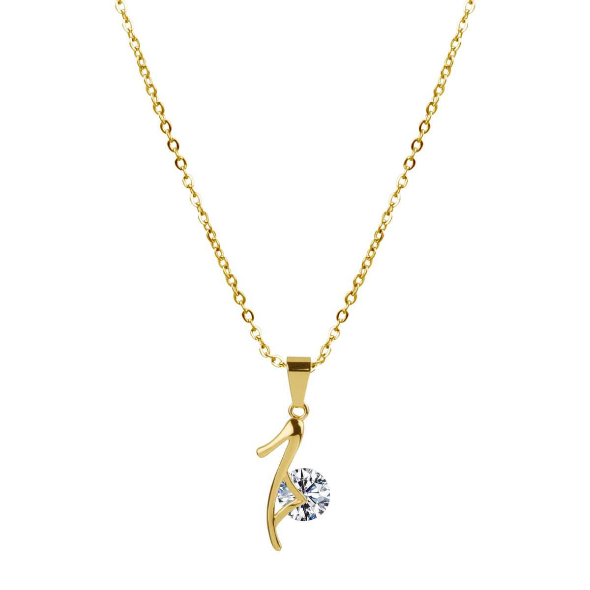 Ravishing Gold 18 Inch Cable Chain With Diamond Pendent Chain Decent look Gift For Love Once Girls And Women