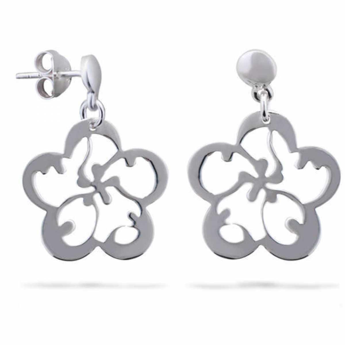Flower Design Silver Earring
