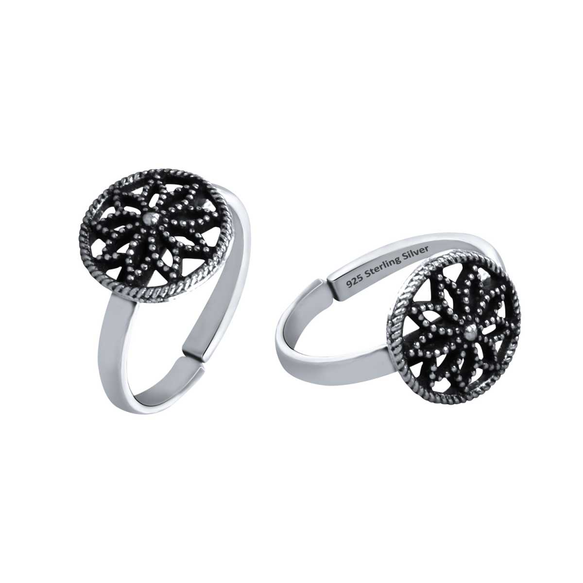 Stunning Flower Chakara Oxidised  Toe Rings