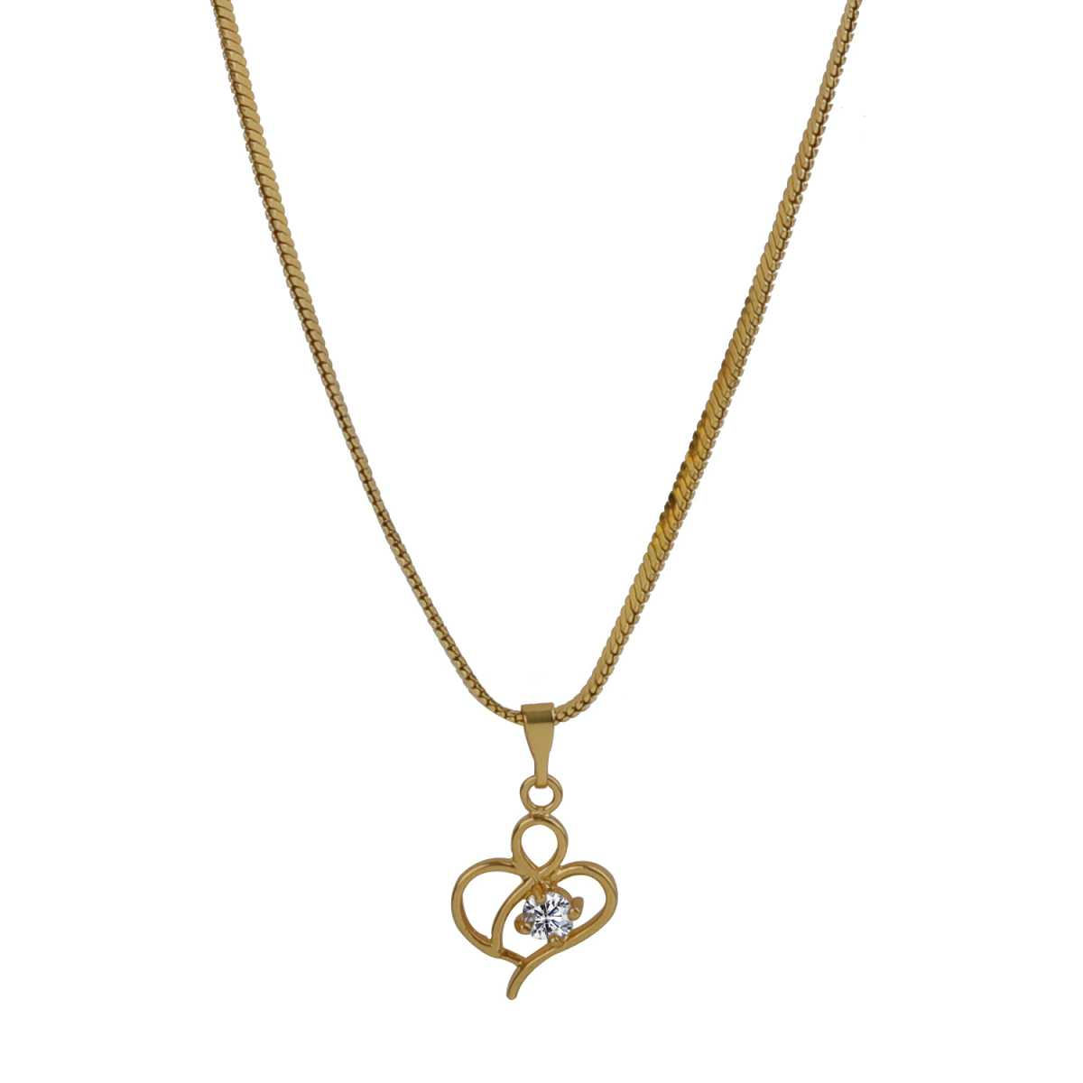 Spunky Gold Heart Pendent Neckless Of 12 Inch Chain Pretty Look For Girls And Women Jewellery