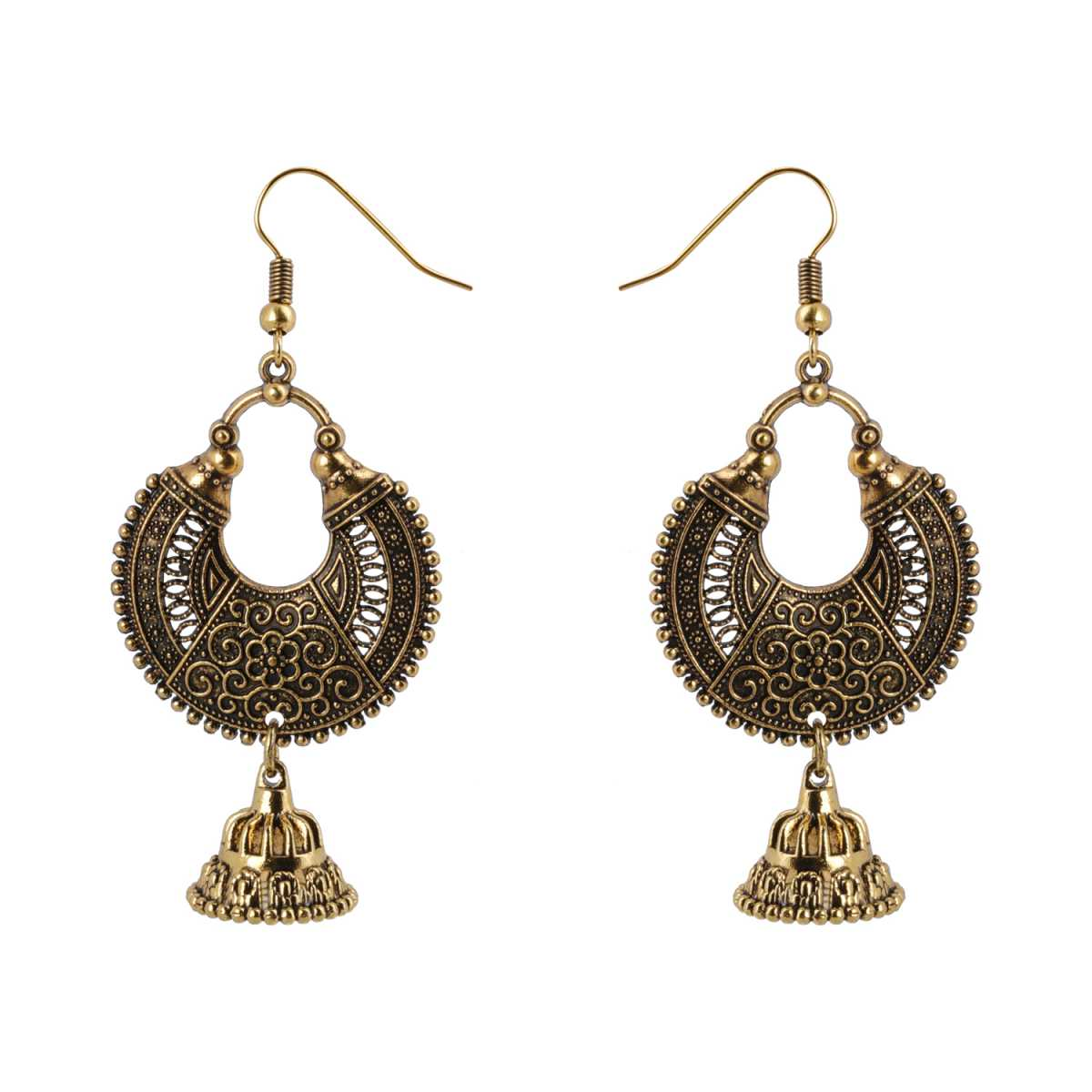 Silver Shine Appealing Golden Chandbali with Small Jhumki Earrings for Women