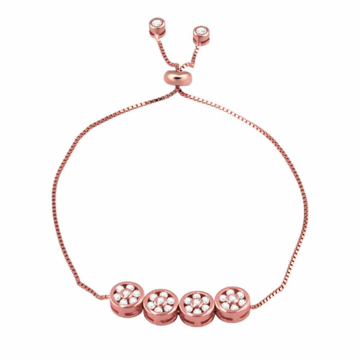 Delicate Four Little Round Shape Diamond Bracelet