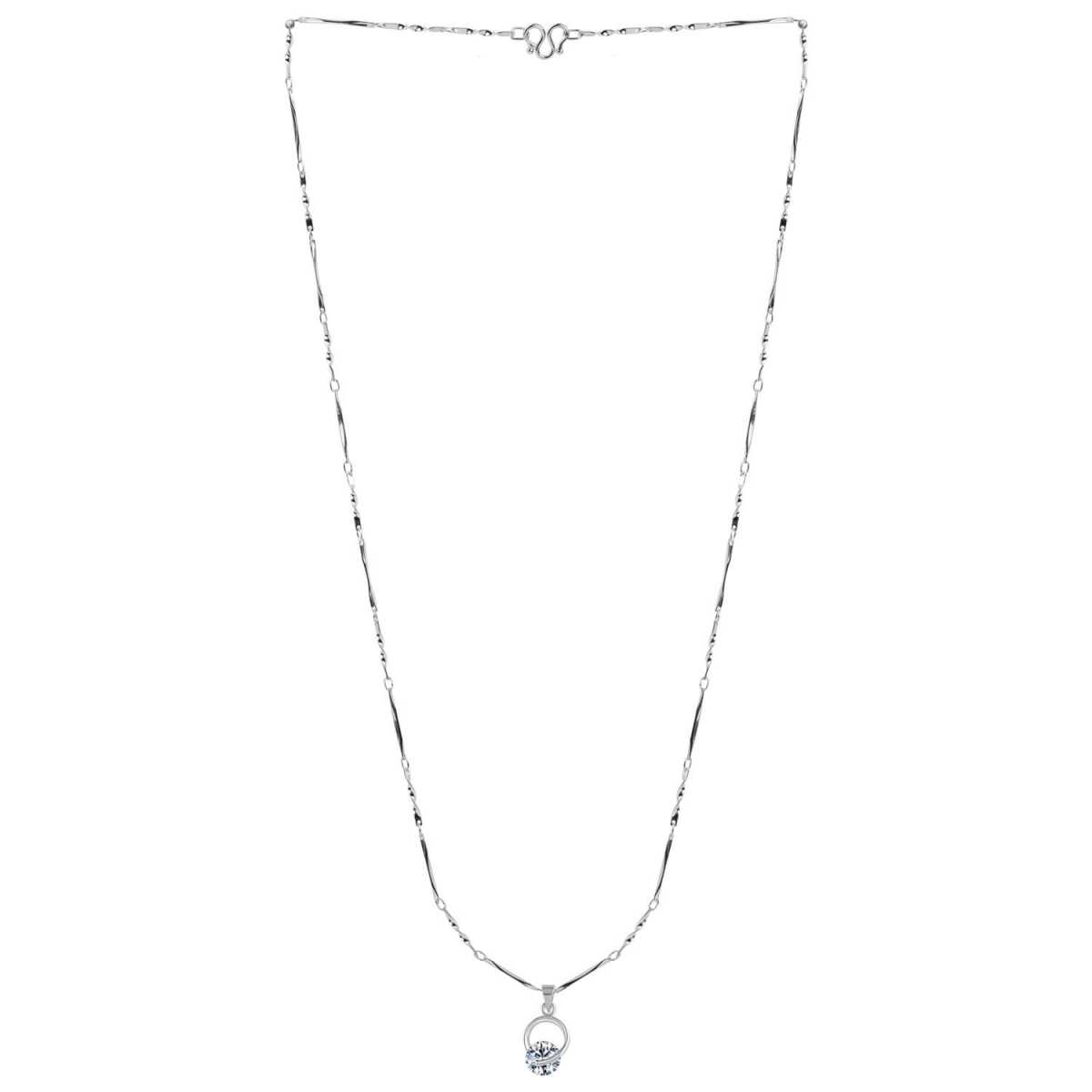 SILVER SHINE  Silver Plated Delicated Stylish Chain Solitaire Diamond Pendant For Women