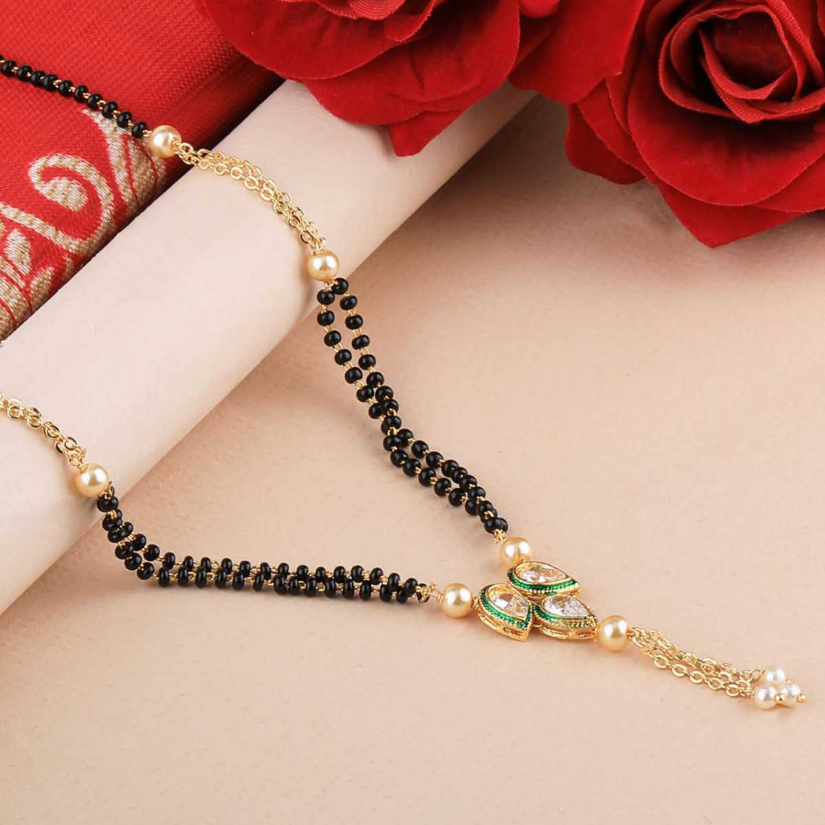 SILVER SHINE Party Wear Designer Gold Plated Mangalsutra For Women