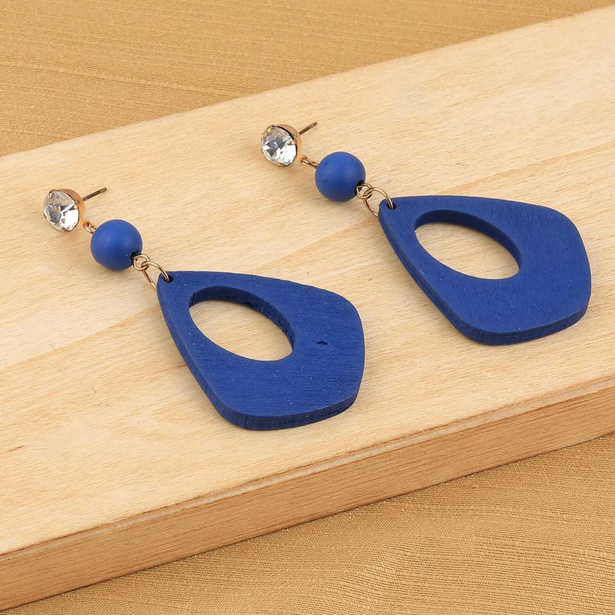 SILVER SHINE Elegant Dangler Diamond Blue Wooden Earrings For Girls and Women …
