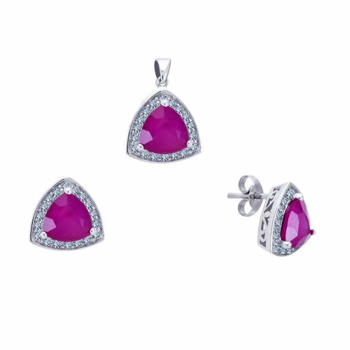 Pink Crystal Pendant Sets