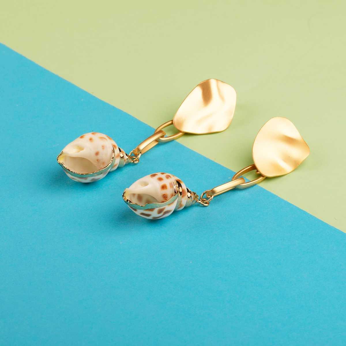 Silver Shine Stylist Party Wear Shell Drop Earring for Girls and Women Jewellery