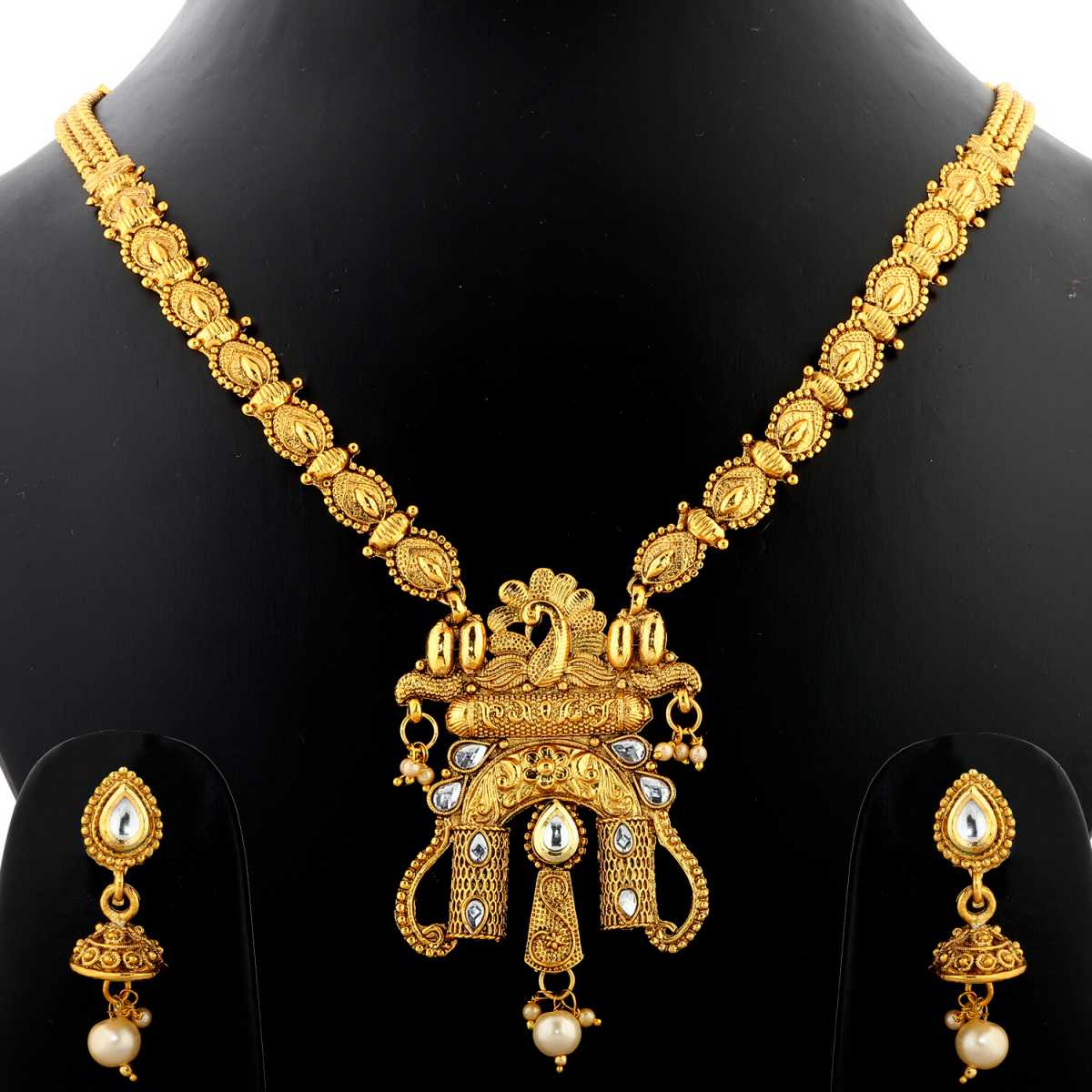 Silver Shine Exclusive Traditional Antique Peacock Design Gold Plated Kundan Long Necklace Set  Jewellery  For Women And Girls