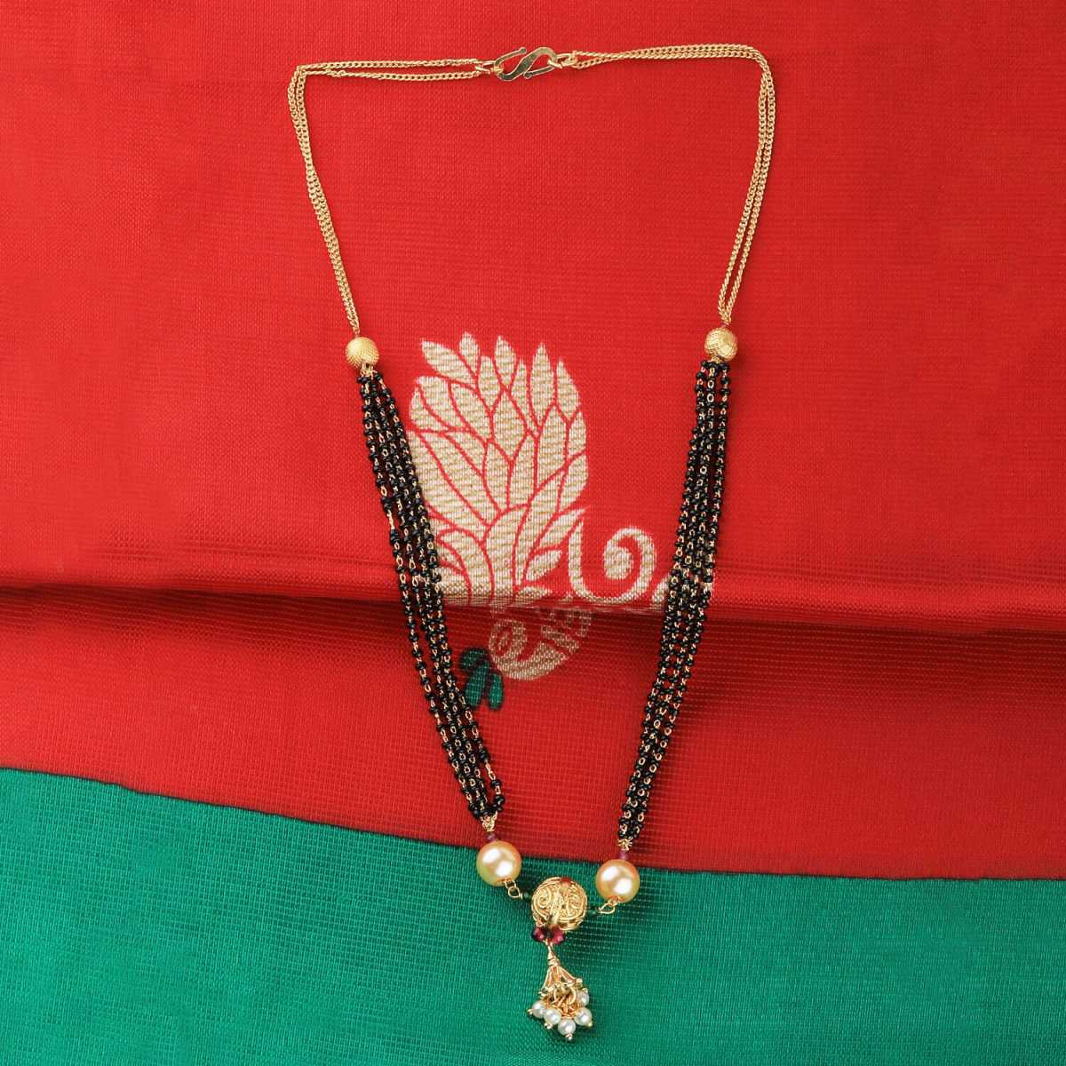 SILVER SHINE Traditional multi chain Gold Plated Mangalsutra For Women