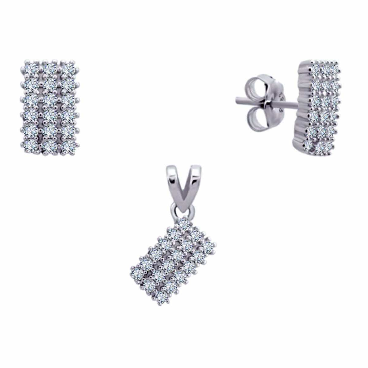Rectangle Shape Diamond Silver Pendant Set