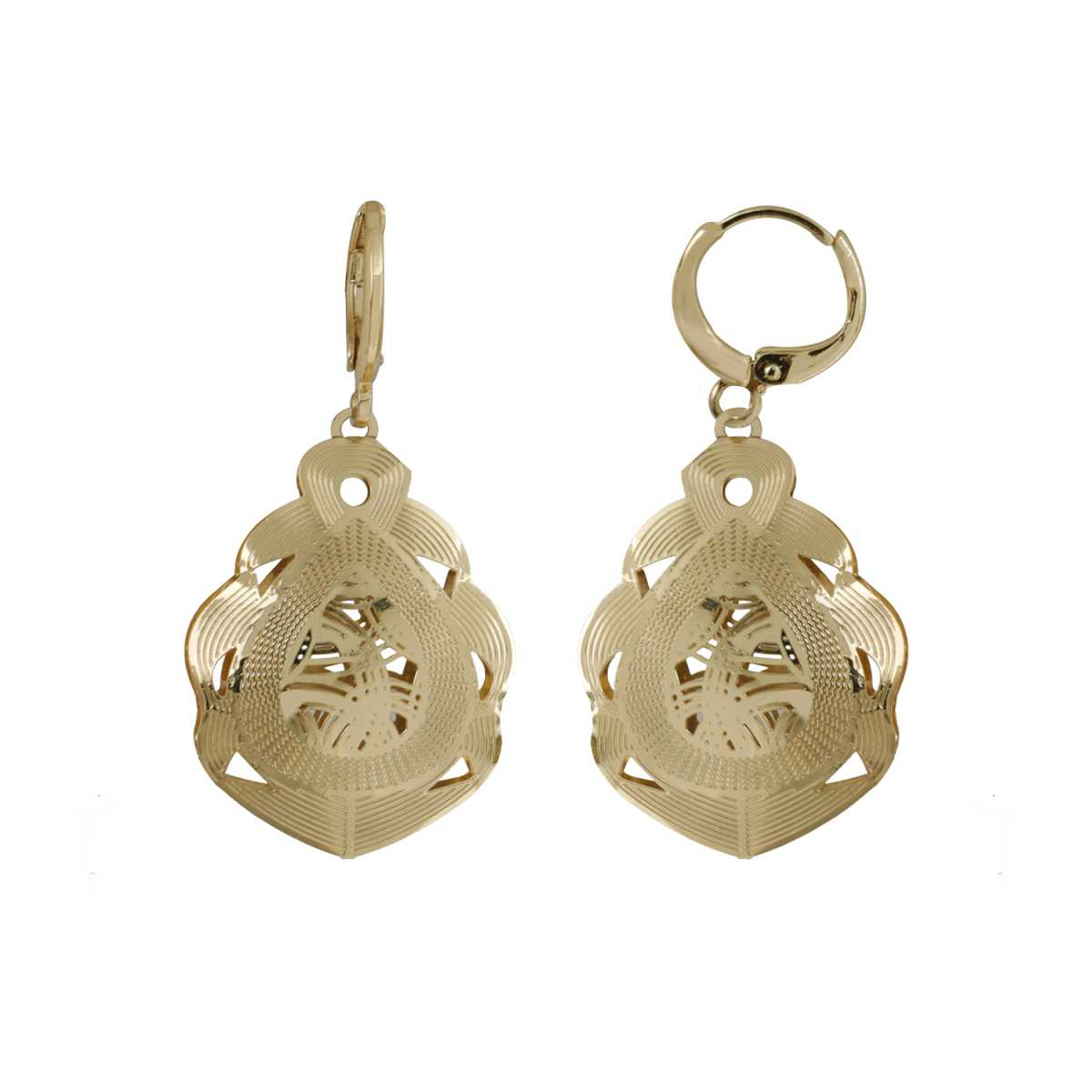 Silver Shine Good Looking Golden Leaf Shape Clip On Bali Earring for Women