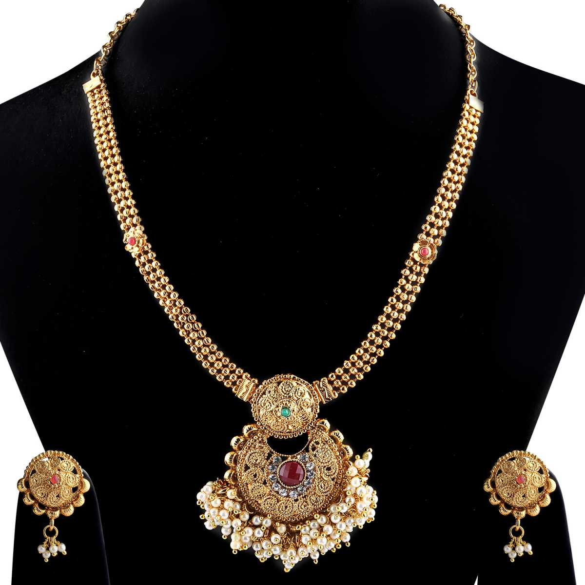 Goldplated Exclusive Multicolour kundan Stone Studded Designer Long necklace for women jewellery
