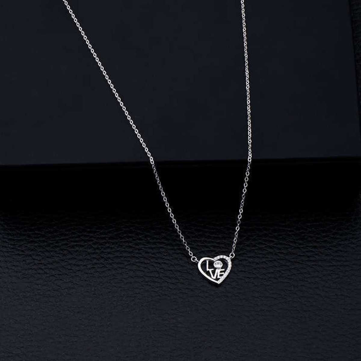 L O V E  In Heart Silver Chain