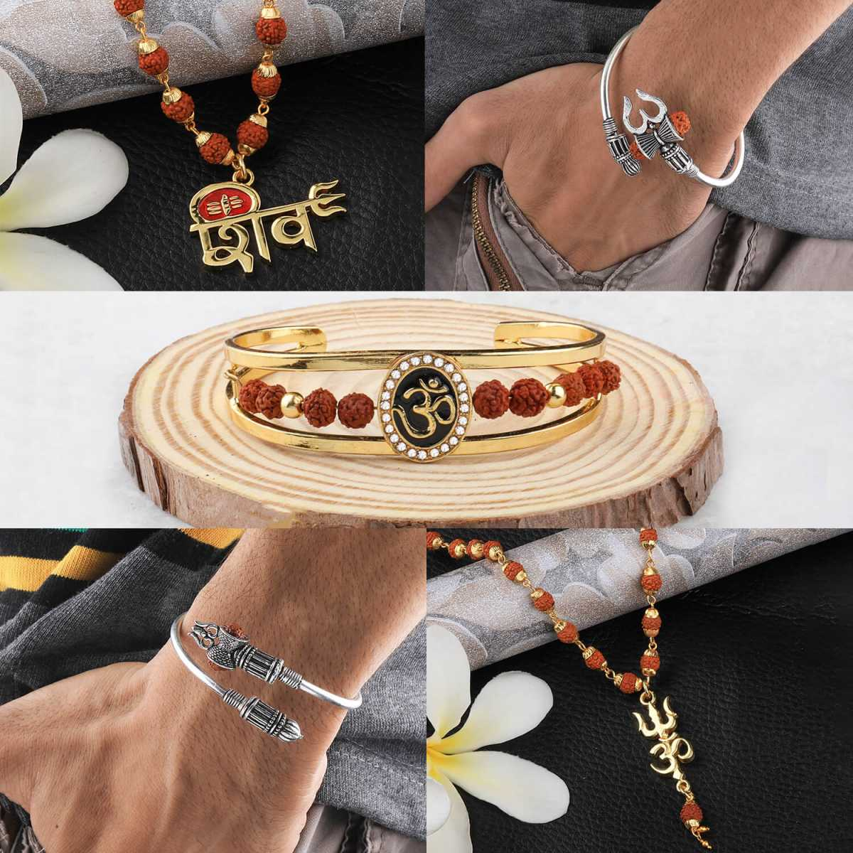 SILVER SHINE Gold Plated Traditional Combo Rudraksh Kada And  Mala Pendant for Men and Women-set 5