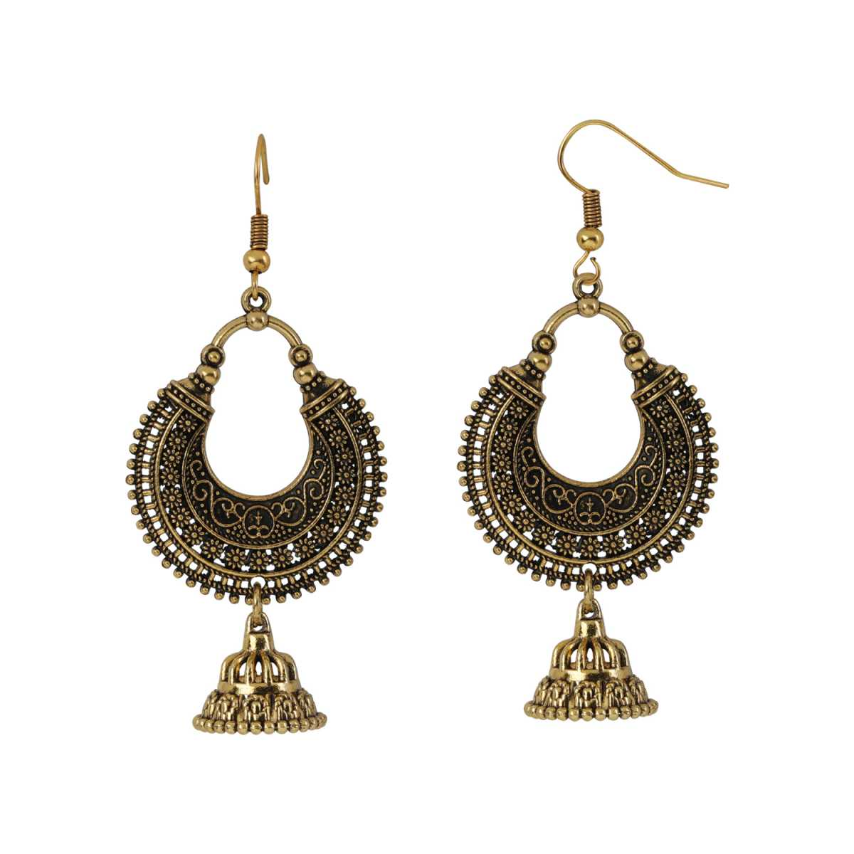 Silver Shine Attractive Golden Chandbali Fish Hook Earring for Women