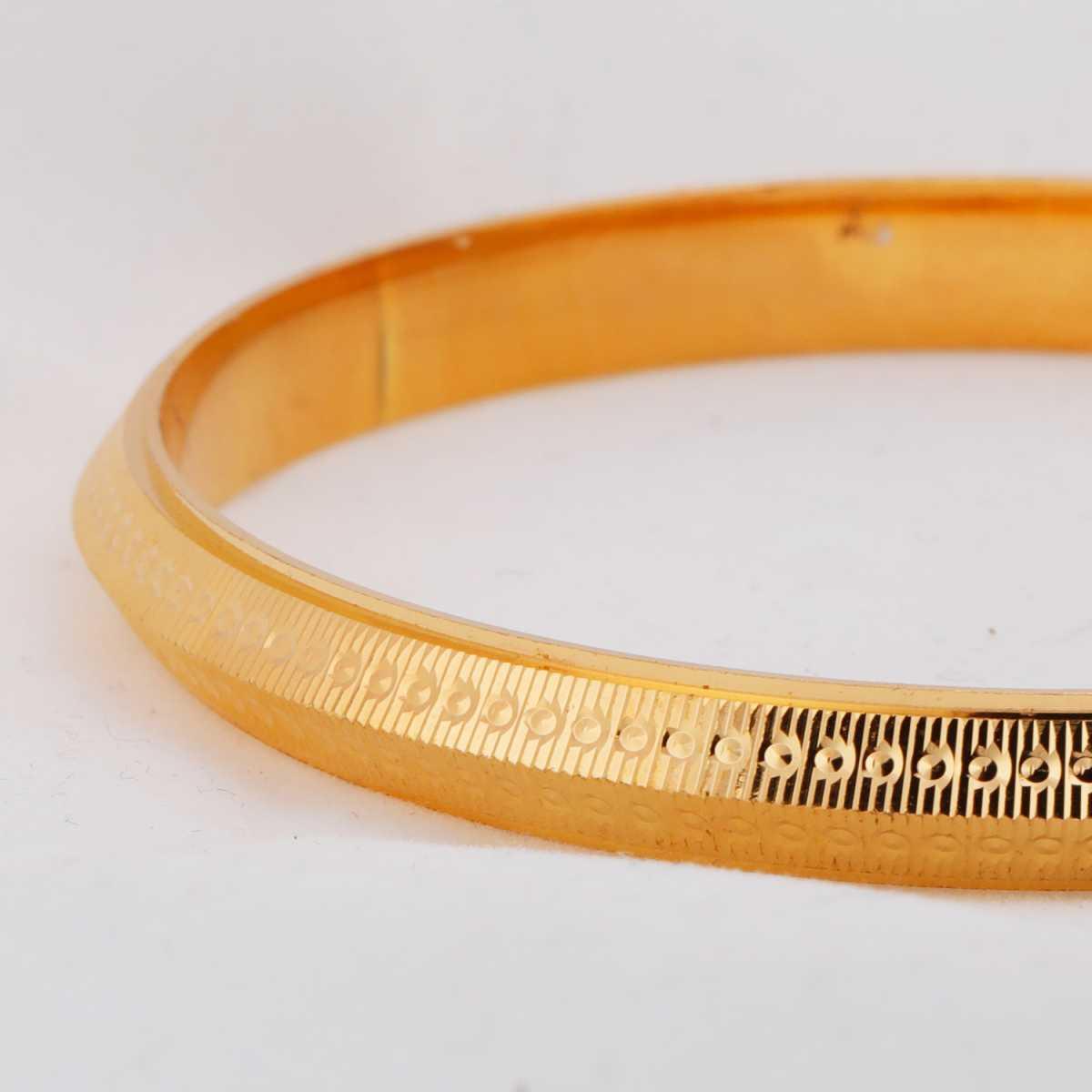 Silver Shine Gold Plated Metal Thick Round Ridged  Punjabi Kada Bangle Bracelet For Boys and Mens.