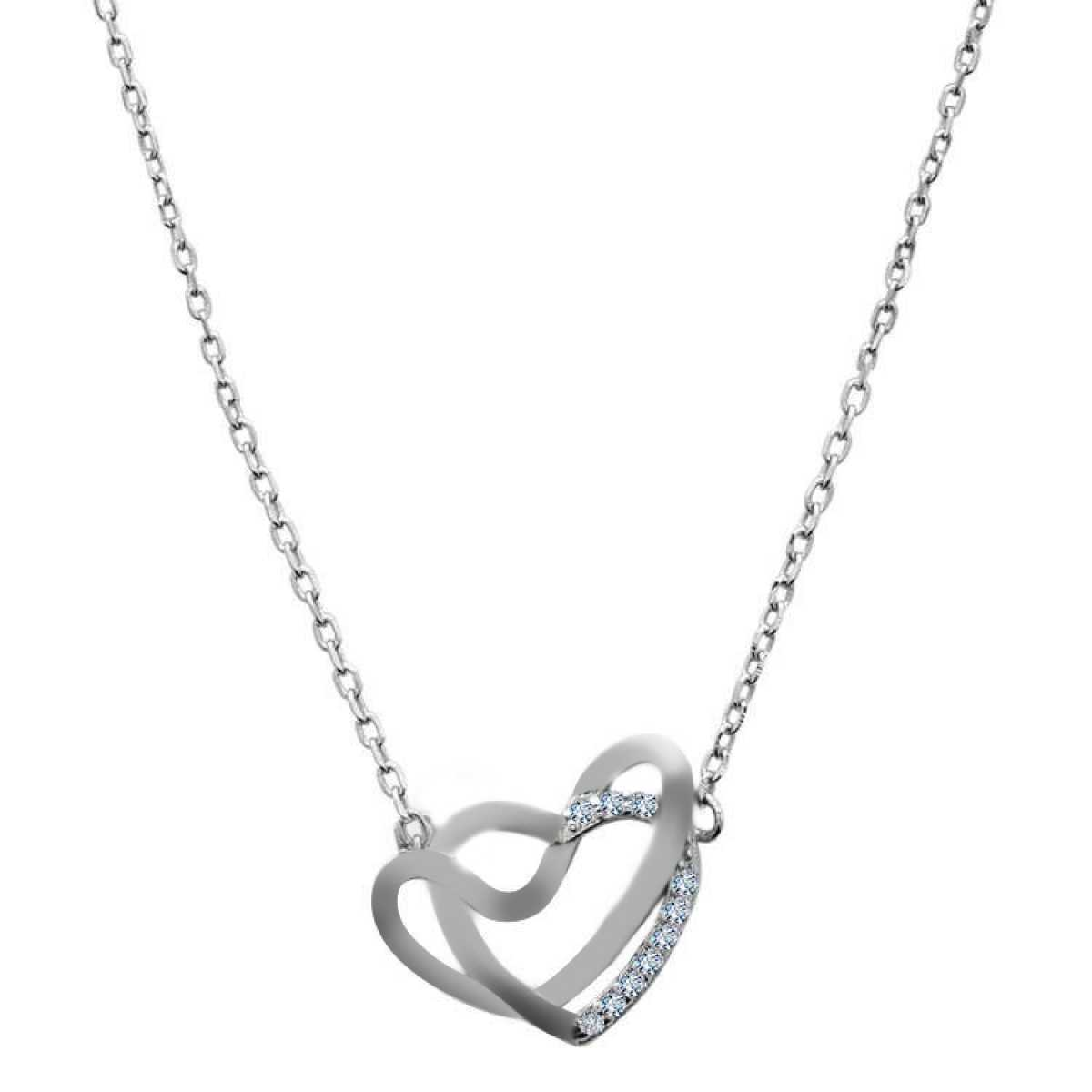 Double Heart With Diamond  Chain