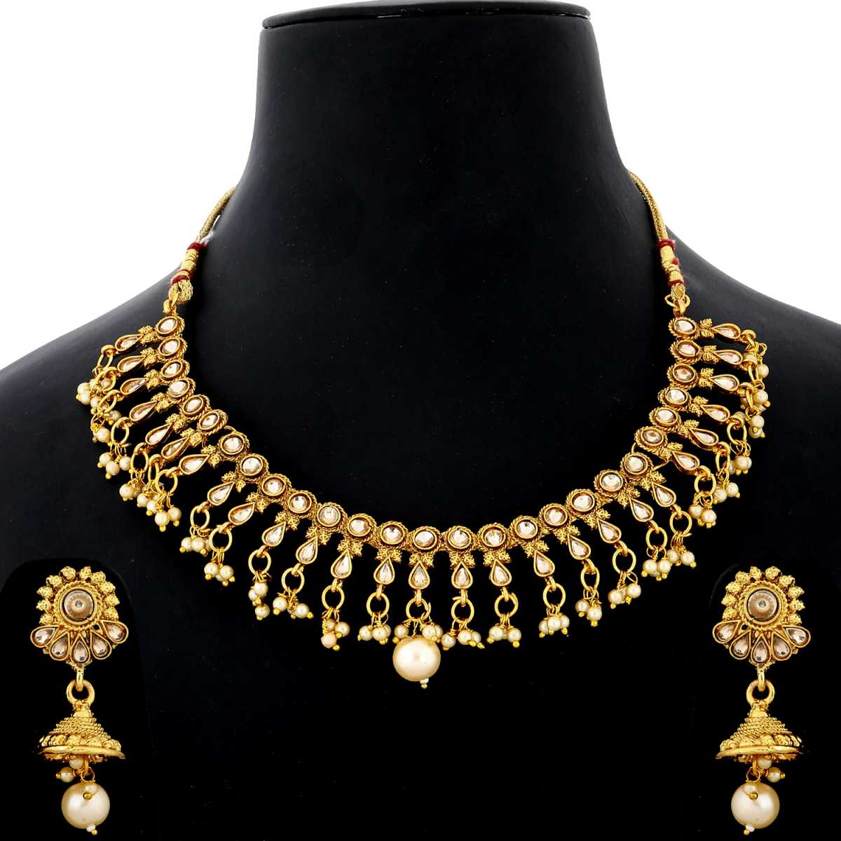 Silver shine Traditional Gold Plated Choker Gold Kundan Stone Studded Pearl Drop Designer Wedding Necklace Jewellery Set for Girls And Women