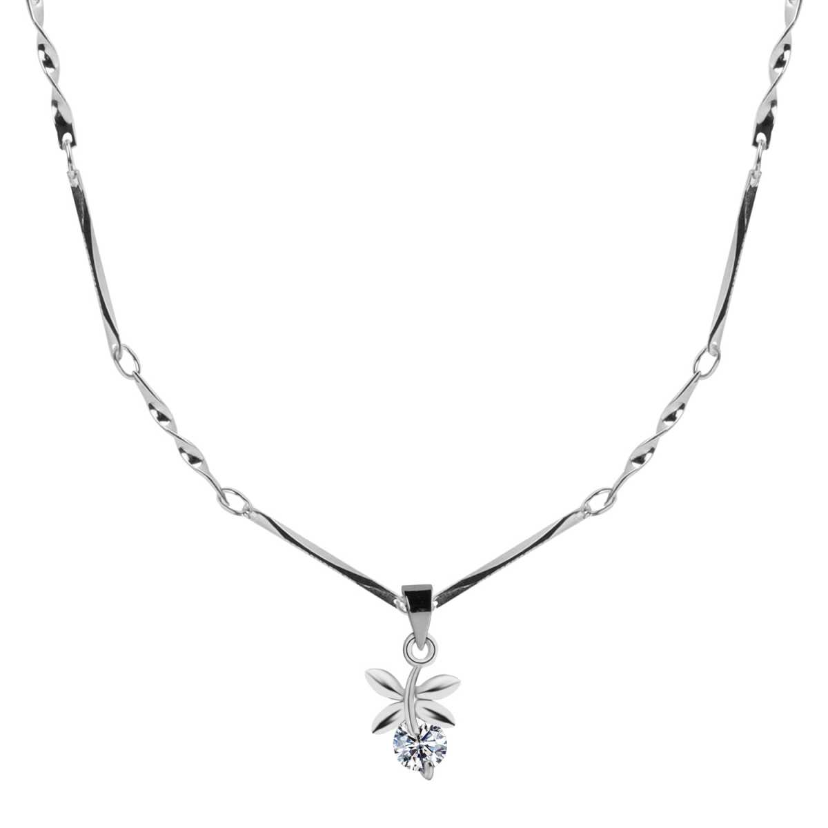 Silver Plated chain With Leaf Shape Solitaire Diamond Pendant  For Women