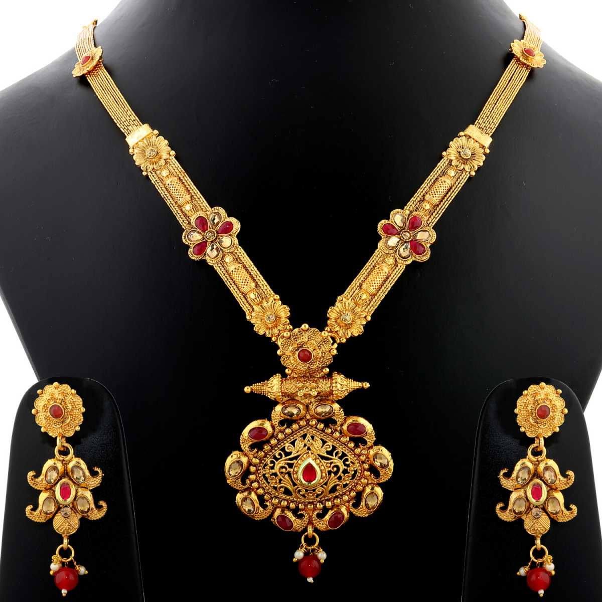 Silver Shine Exclusive Traditional Gold Plated Antique Shape Red Kundan Stone Studded Long Necklace Set  Jewellery For Women And Girls