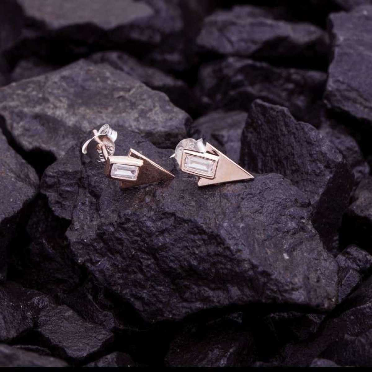 Rose Triangle Earring