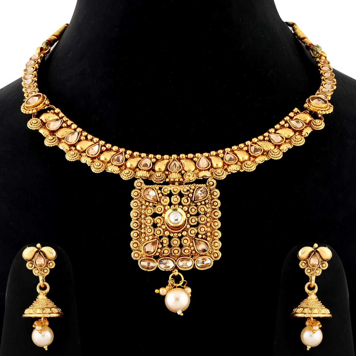 Silver Shine Traditional Gold Plated Antique kundan Stone Studded Self Textured Pearl Drop Designer Party Wear Wedding Necklace jewellery Set For Girls and women