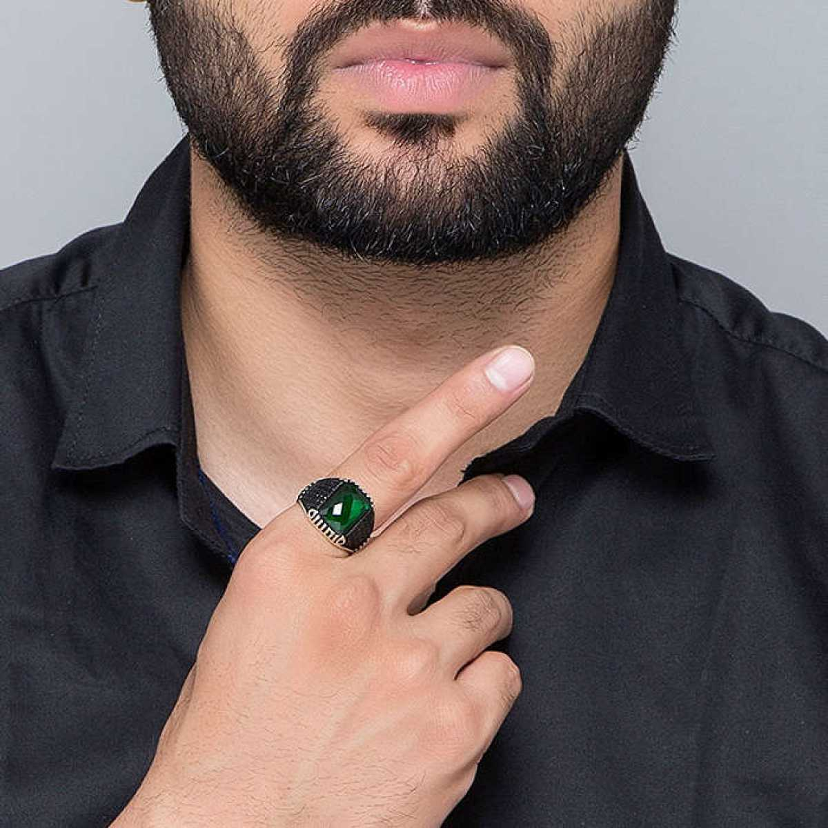 Silver Shine 92.5 Sterling Silver  Green Stone Silver Ring  for Mens