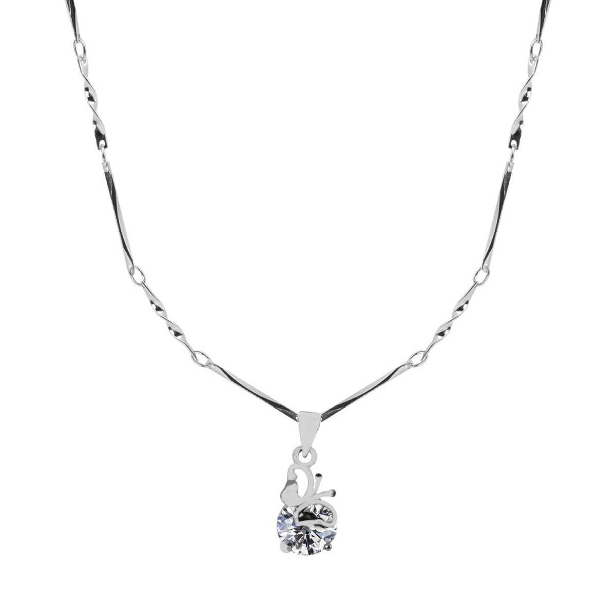 Silver Plated Chain With Mini  Delicate Butterfly Pendant  For Women