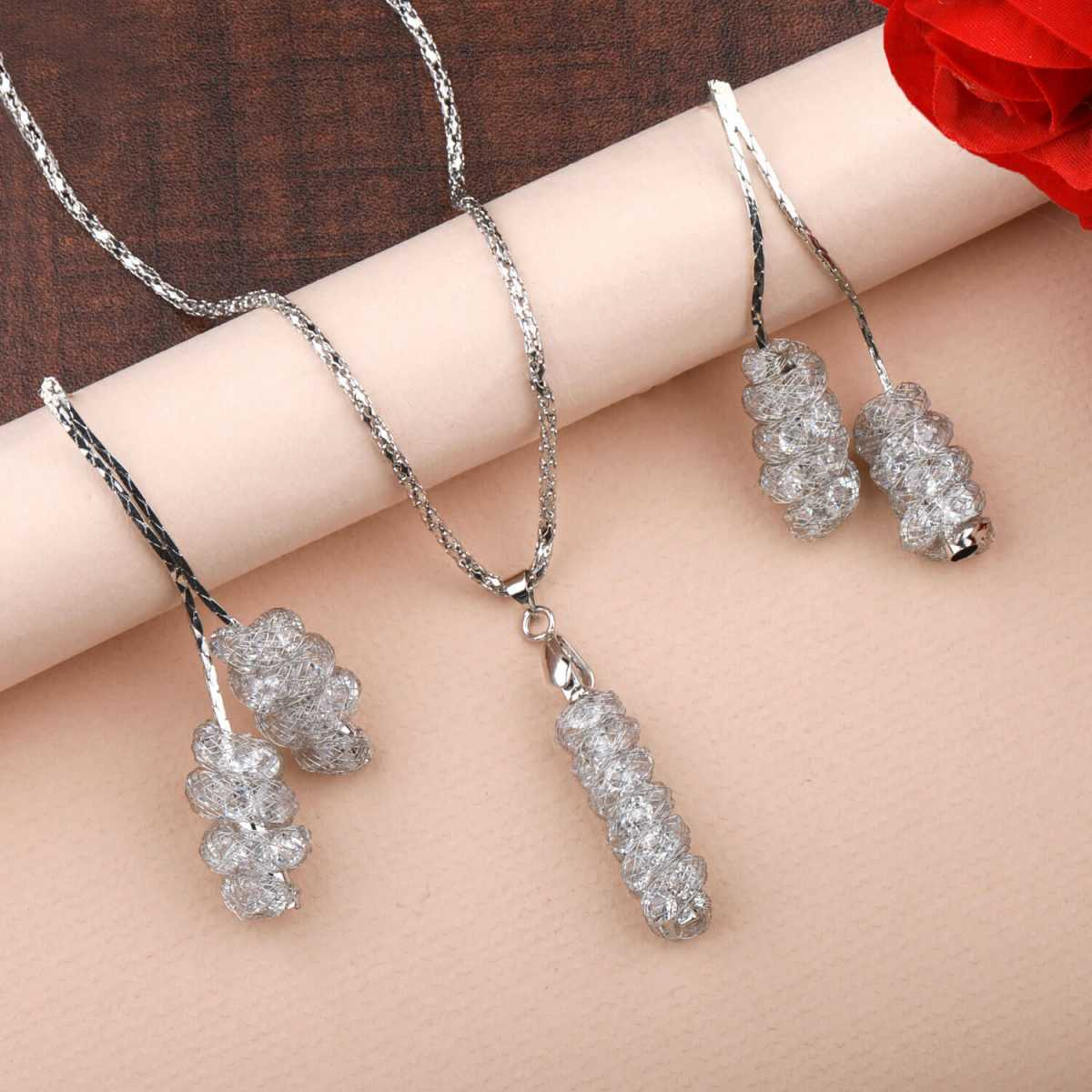 Silverplated Designer White Diamond Studded Necklace for women jewellery