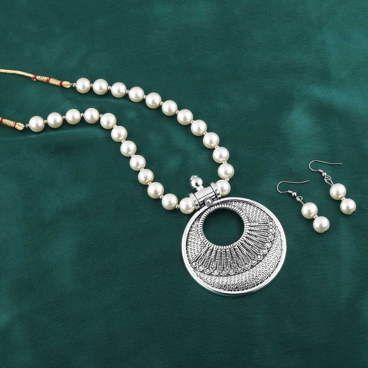 Elegant Royal Oxidised Pendant White Pearl Jewellery set for Women
