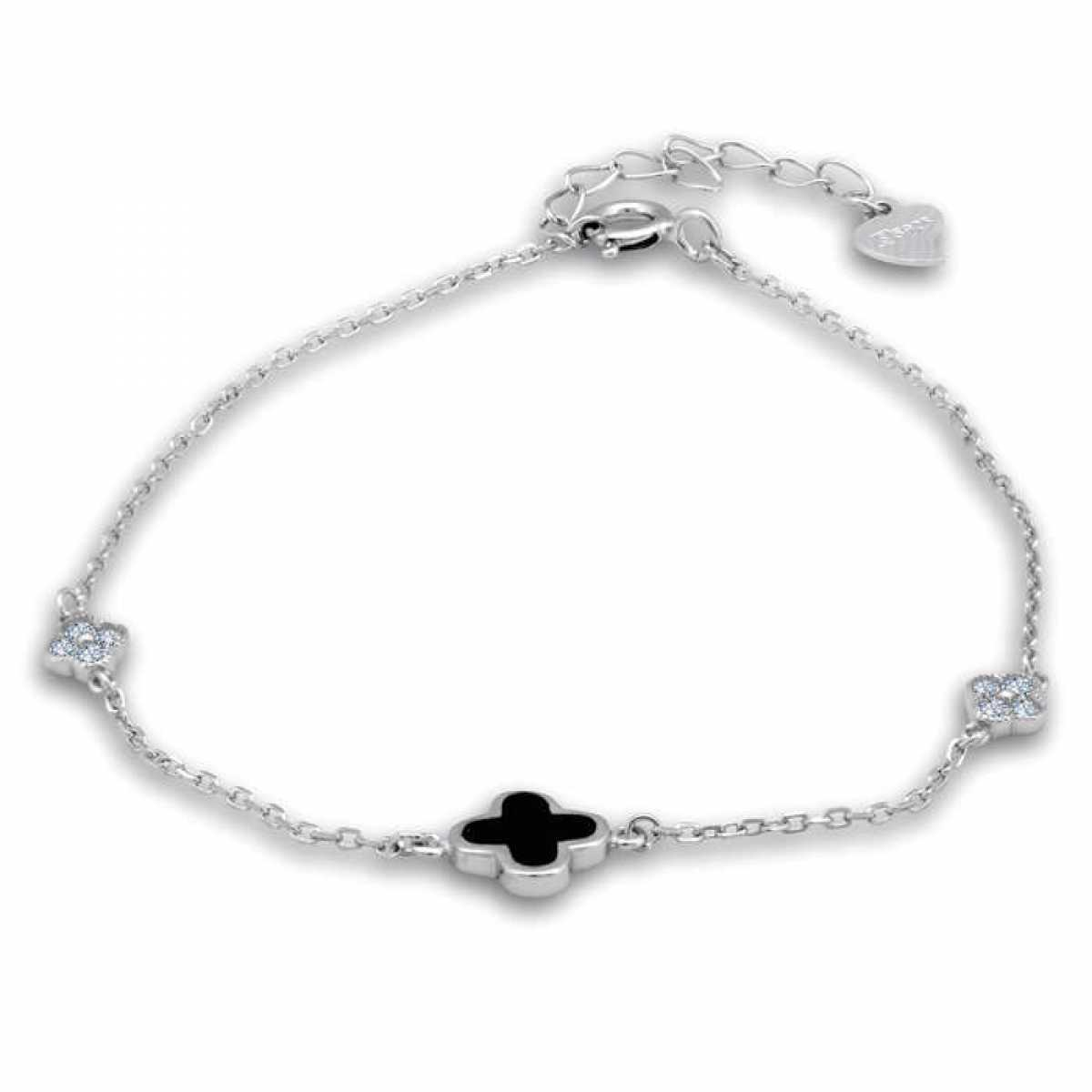 Diamond & Flower Silver Bracelet