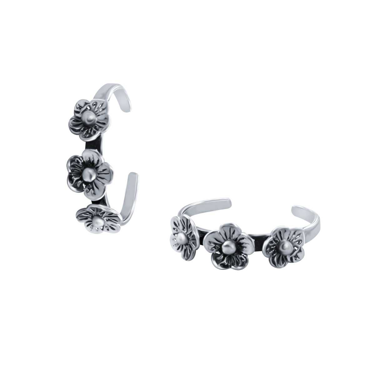 Appealing Three Flower Oxidised  Toe Rings