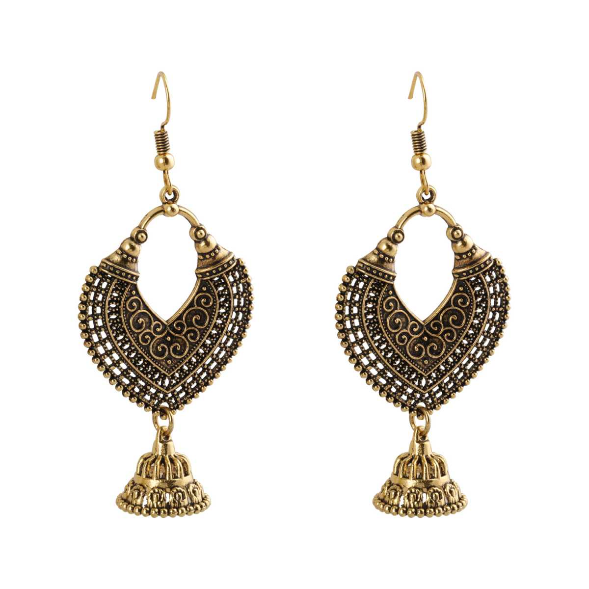 Silver Shine Shimmering Unique Arabic Design Golden Earrings for Women
