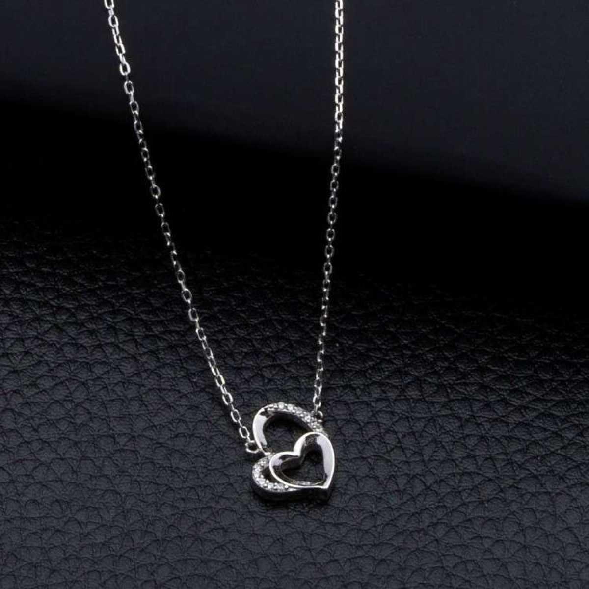 Diamond Heart In Heart Sterling Silver  Chain