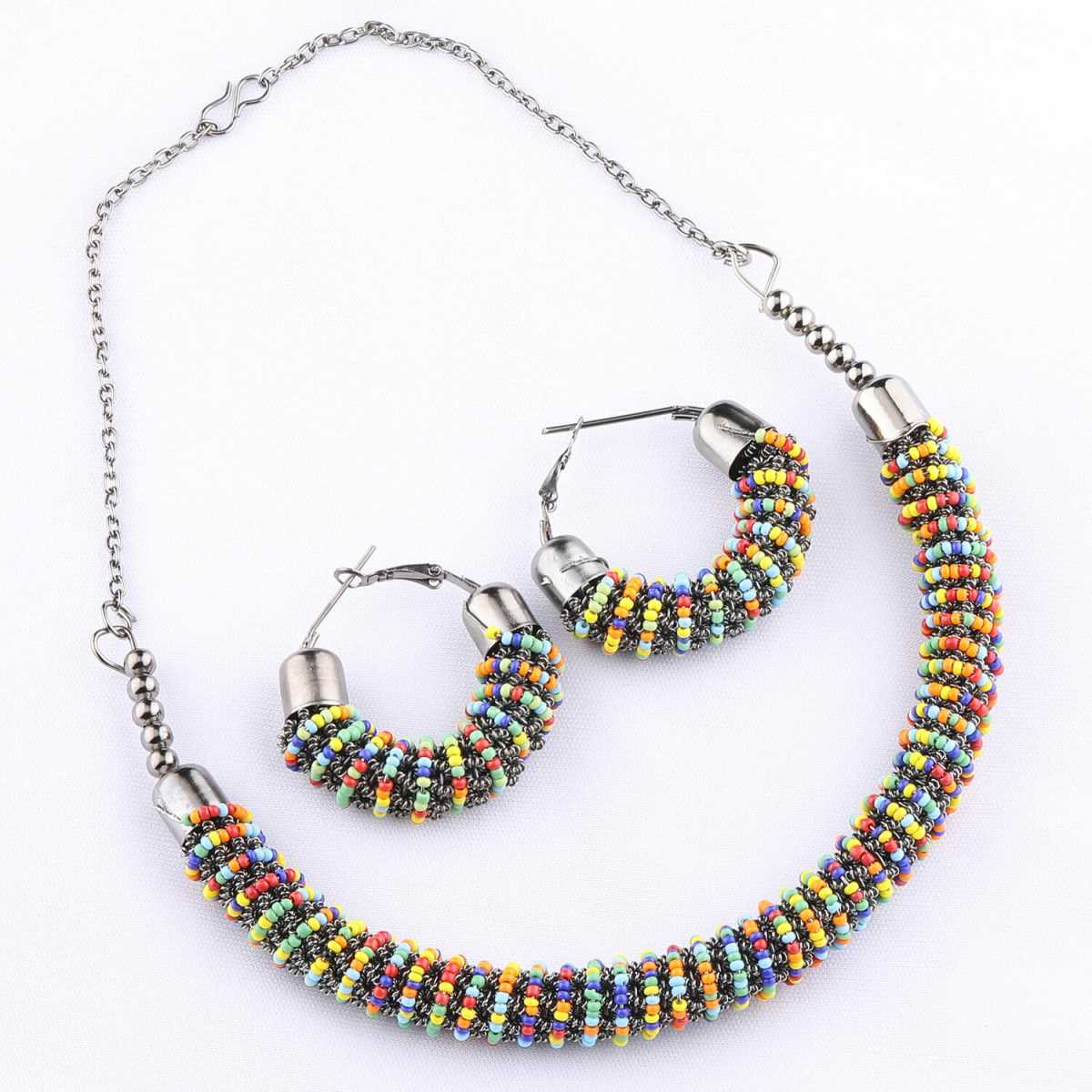 Multi Colour Bead Studded Designer Hasli Set For Women Jewellery