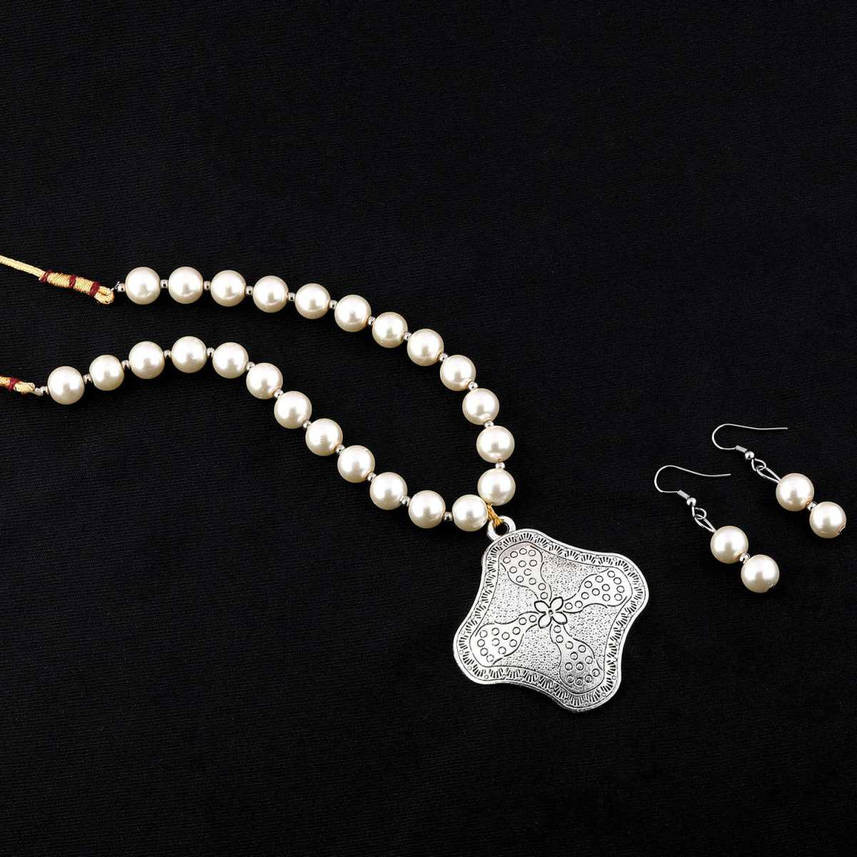 Oxidised Pendant White Pearl Jewellery set for Women