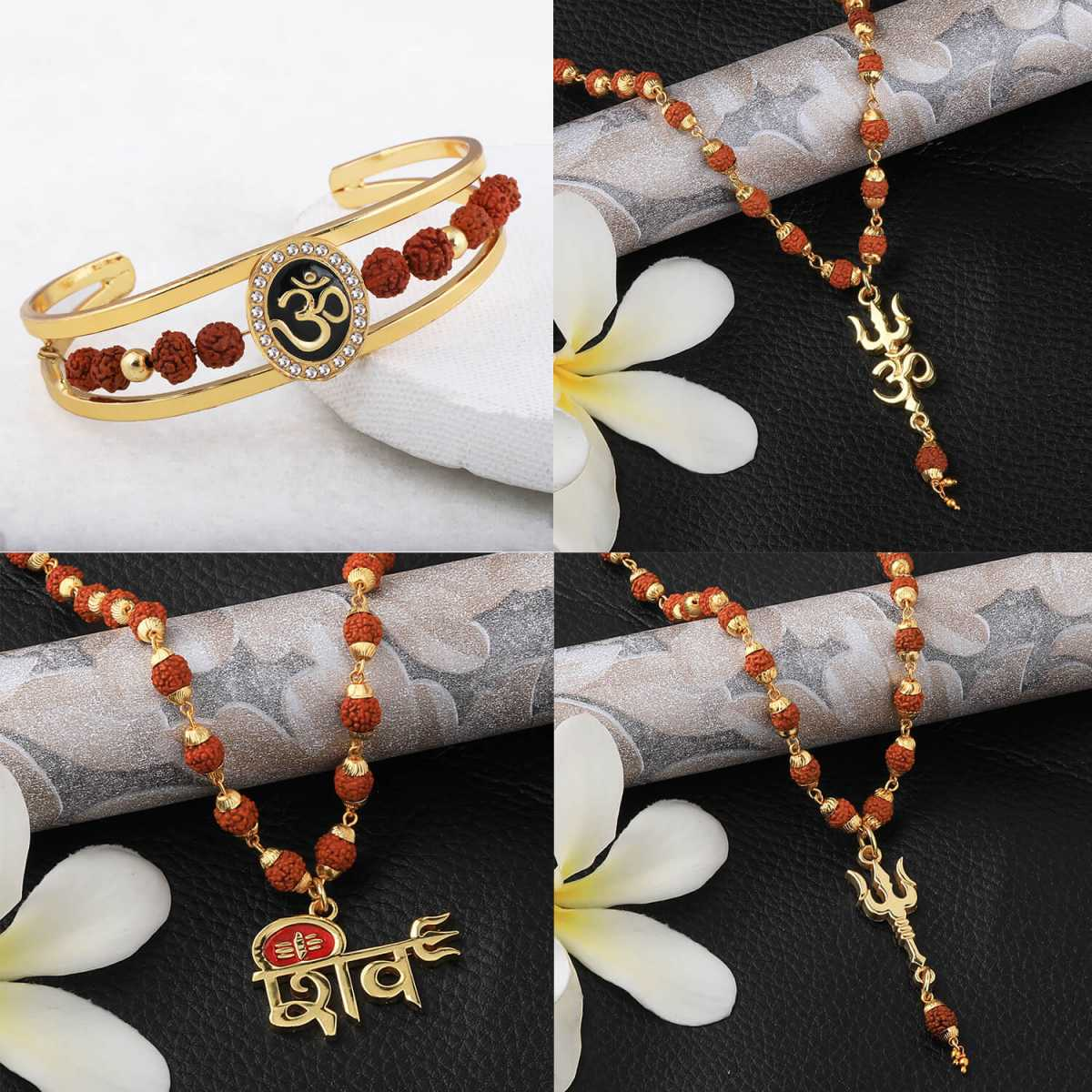 SILVER SHINE Gold Plated Traditional Combo Rudraksh Mala Pendant locket and kada for Men and Women-set 4
