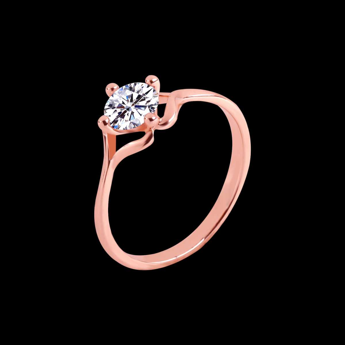 Silver Shine Rose Gold Plated Elegant Classic Crystal Leaf Solitaire Ring for Girls and women,wedding ring,jewelry,diamonds,fashion jewelry,couple rings.