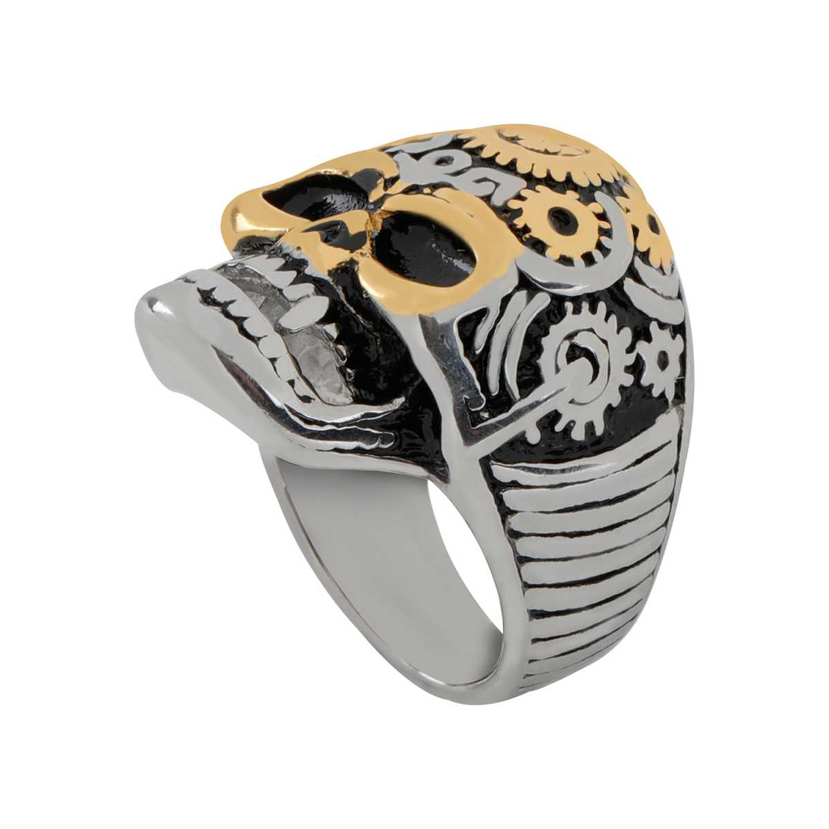 Silver Shine Stainless Steel Skull from Batman Bikers Ring for Boys and Men