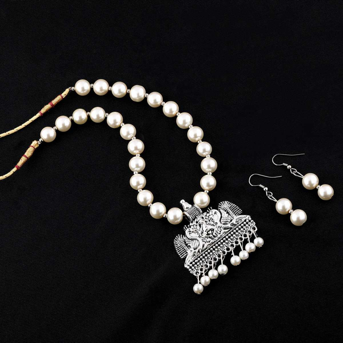 Silver Plated Amazing Oxidised Pendant White Pearl Jewellery set for Women