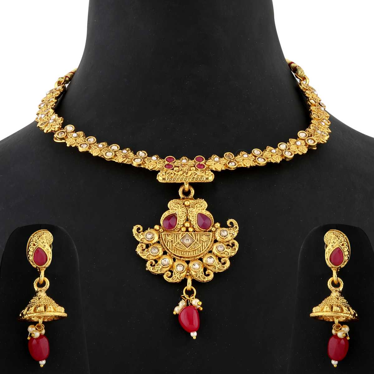 Silver Shine Traditional Unique Gold Plated Hasli type Red Kudan stone studded bead drop Designer Wedding Necklace Jewellery set for Girls and Women