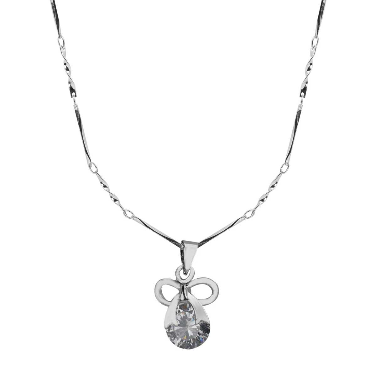 Silver Plated chain With  Bow Shape Pendant  For Women