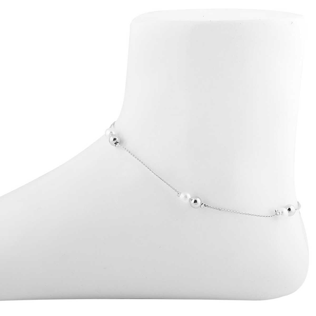SILVER SHINE delicate Silver Plated Pearl Anklet For Women Girl
