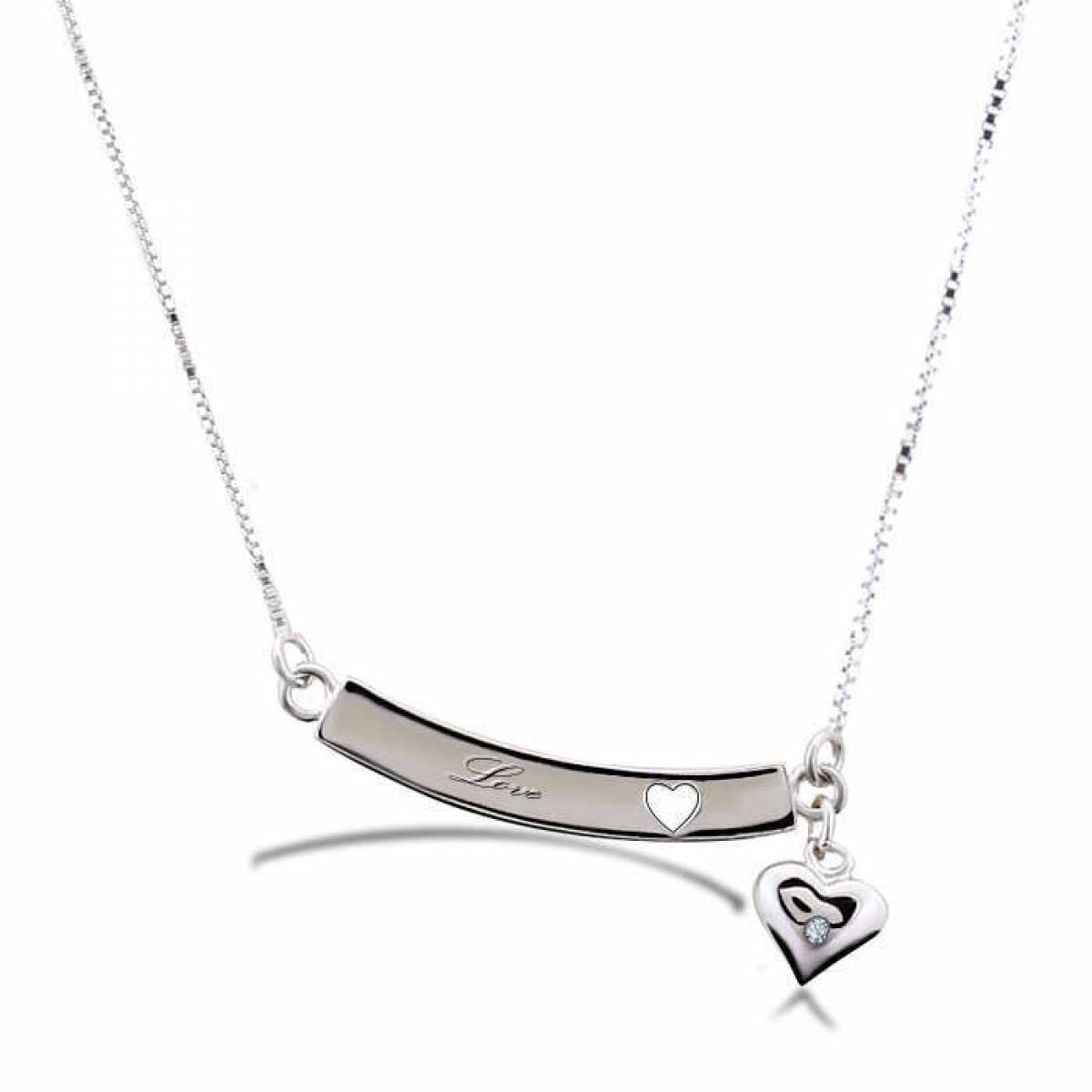 Silver Plate In Big Heart Chain