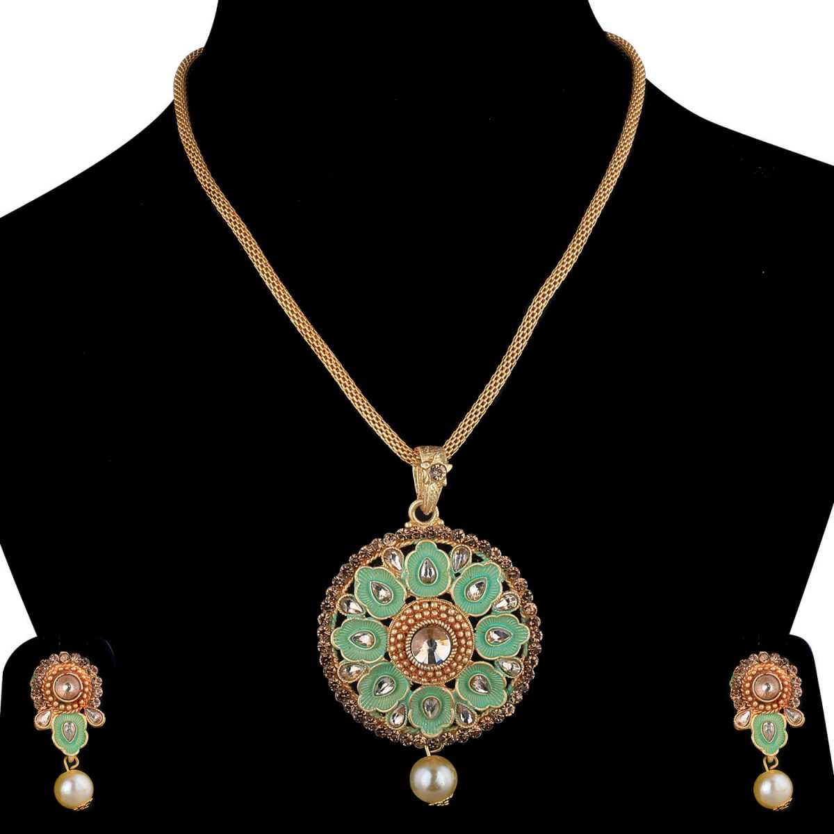 SILVERSHINE Designer Goldplated Traditional Necklace Pendant  set  for women jewellery