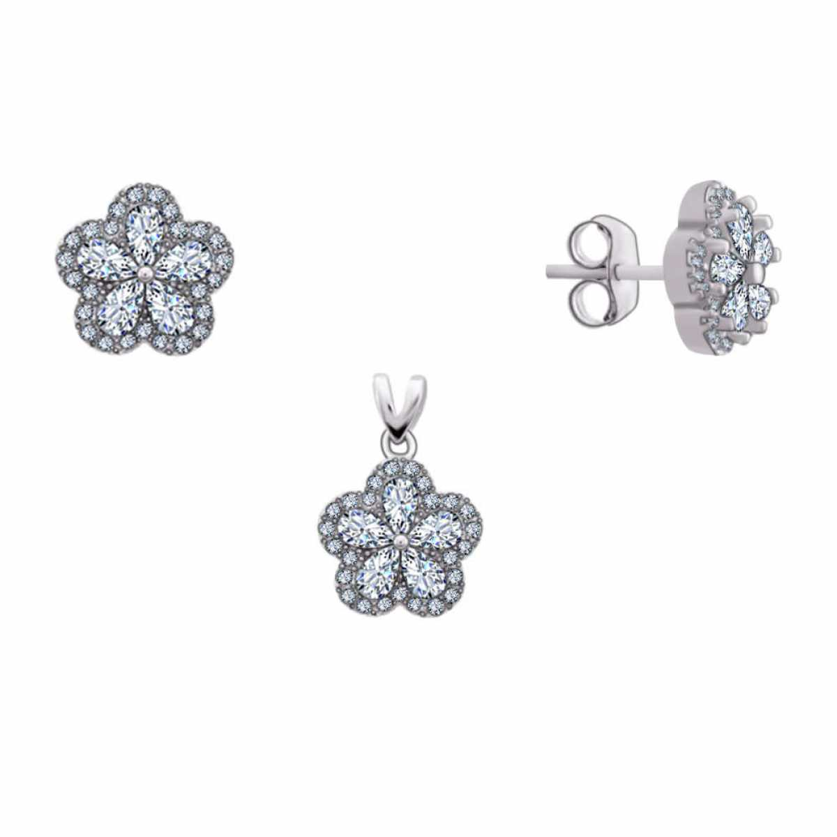 Flower Diamond Silver Pendant Set
