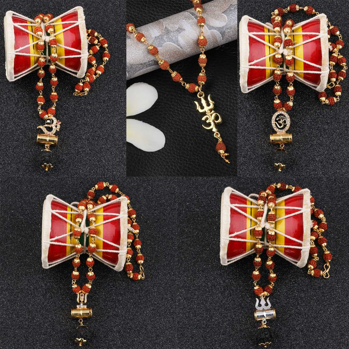 SILVER SHINE Gold Plated Traditional Combo Rudraksh Mala Pendant Locket for Men and Women-set 5