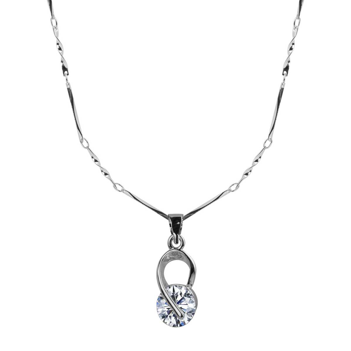 Silver Plated Chain With Elegant Shape Solitaire Diamond Pendant For Women