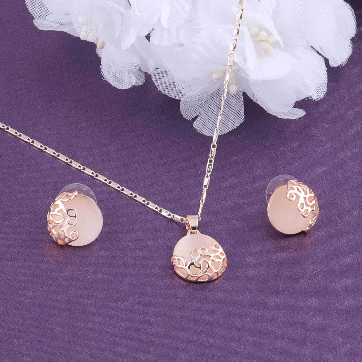 SILVER SHINE Exclusive Delicate Party Wear Pendant Set For Women Girl