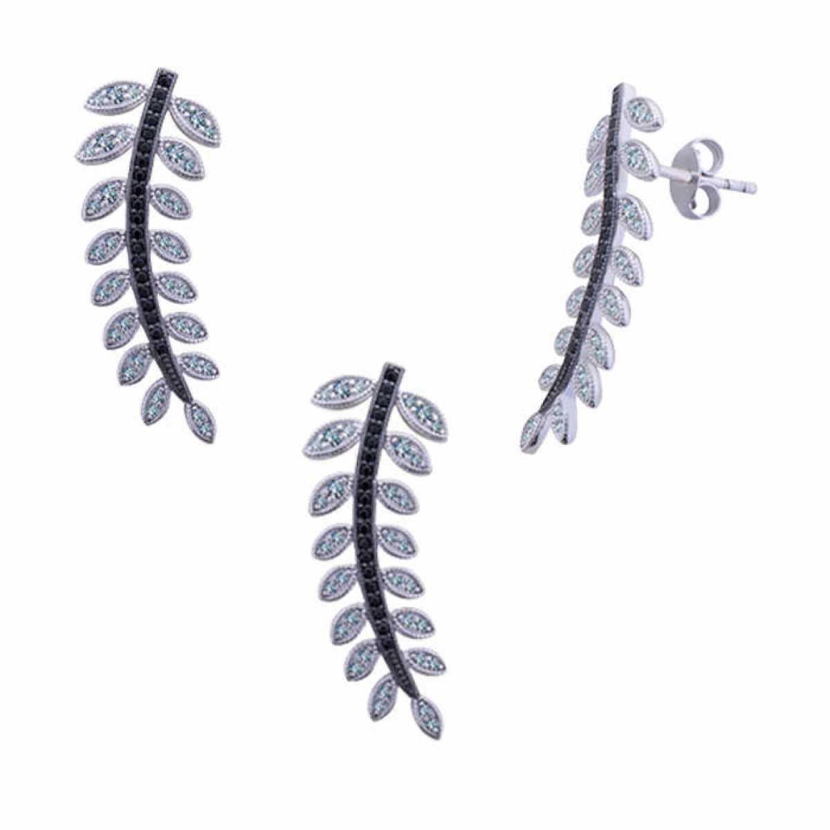 Quite Diamond Leaf Pendant Set